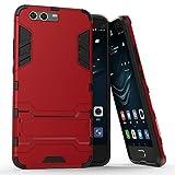 COOVY® Funda para Huawei P10 + Plus de plástico y Silicona TPU, extrafuerte, con protección contra Golpes, Funda con función Atril | Rojo