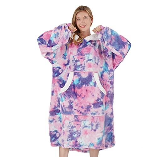 Winthome Übergroße Hoodie Decke, Flanell Sweatshirt Decke, Kuschelpullover Für Damen Herren Erwachsene (Rosa, One Size)