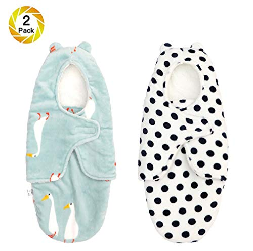 Baby Swaddle Thick Wrap Sack Blanket With Hat Boy Girl, Newborn Velvet Swaddling, Infant Sleeping Bag Swaddle Pouch, Autumn & Winter, 0-8M,C1, M