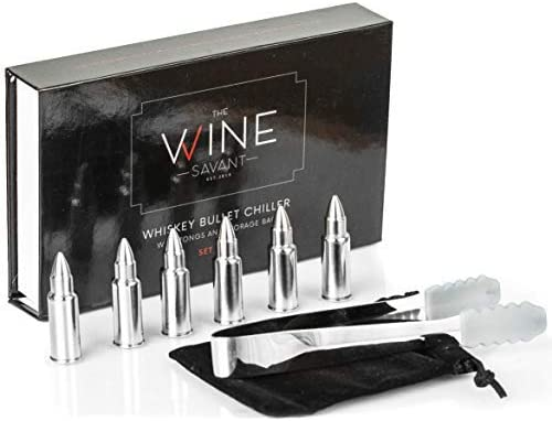 Gold Bullet Whiskey Chillers Stones - 1.75in Whiskey Rocks By The Wine Savant Set of 6 - Stainless Steel Bullet Shaped Ice Cubes, Gift Box Come, Tongs and Storage Bag, Whiskey or Scotch Rocks