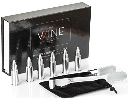 Whiskey Stones Bullets Stainless Steel - Bullet Chillers Set of 6, The Wine Savant Stainless Steel Whiskey Rocks Bullet Shaped Ice Cubes, Beautiful Gift Box, Tongs and Storage Bag 1.75in