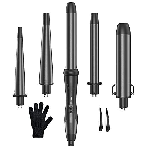 Ferro arricciacapelli 5 in 1, professionale arricciacapelli con 5 diametri intercambiabili diversi, ceramica bacchetta arricciacapelli include guanti resistenti al calore, nero grigio