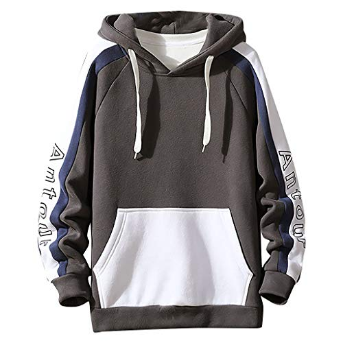 Best Price WYTong Men's Pullover Casual Hooded Sweatshirt Patchwork Blouse Sport Fashion Hoodies Reg...