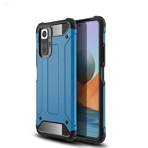 LEYAN Funda para Xiaomi Redmi Note 10 5G (6.5') / Poco M3 Pro 5G, [Doble Capa] PC + TPU Silicona Tough Armor Protección Carcasa, Robusta Antigolpes Estuche Resistente Case Cover, Azul