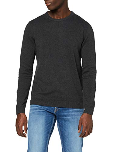 JACK & JONES Herren JJEBASIC Knit Crew Neck NOOS Pullover, Grau (Dark Grey Melange Dark Grey Melange), Large