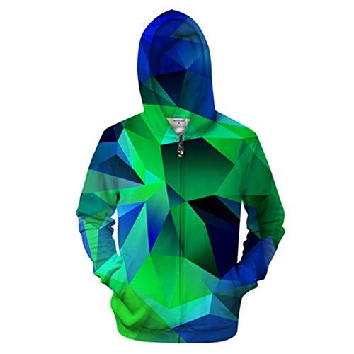 ZP-YENSRT Géométrie 3D Zip Hoodies Hommes Zipper Sweat À Capuche Décontracté Sweat Survêtement Pull ZIP473 XL