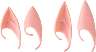 MediaLJia 2 Pairs Fairy Elf Ears Latex Cosplay Masks Soft Goblin Ears Accessories for Halloween Party