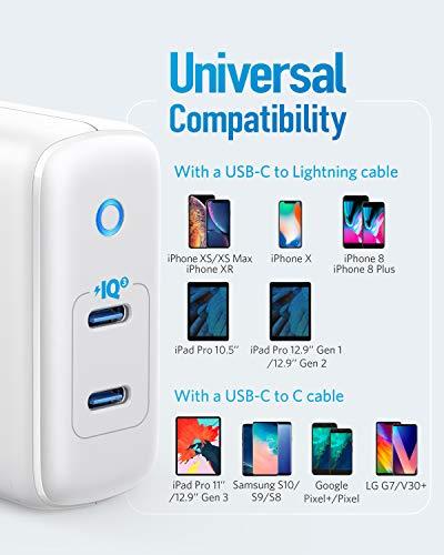 Anker PowerPort III Duo, Kompaktes Doppel-Port Typ-C Wandladegerät mit PowerIQ 3.0, Power Delivery für iPhone XR/Xs/Max/X / 8 / Plus, Galaxy S10 / S9, Pixel 3a / 3 / XL, iPad Pro, und mehr