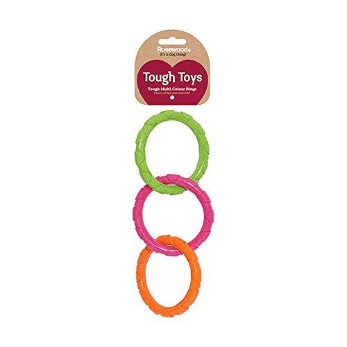 Rosewood 40324 beetbestendige, robuuste rubberen ringen voor speelgoed binnen en buiten, hondenspeelgoed, meerkleurig, grootte: 37 cm, Large
