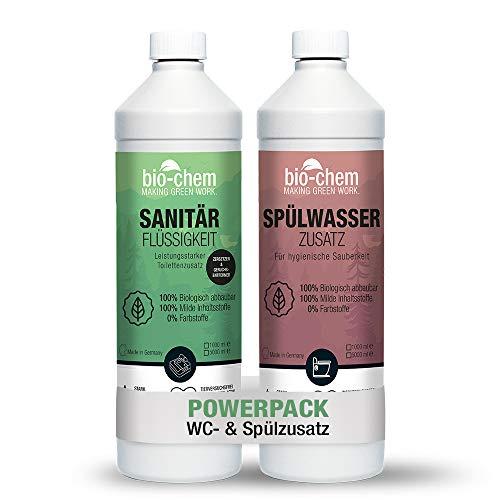 Campingtoiletten-Set 2-teilig: Bio Sanitärflüssigkeit 1 l + Spülwasserzusatz 1 l – Sanitärzusatz für Mobile Toiletten und Chemietoiletten – WC-Reiniger für Mobile Toiletten