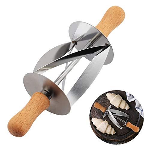 Keukenapparaten en gadgets RVS rolmes Zilver 7.9X2.4X2.4In voor de productie van Croissant brood wiel deeg gebak mes houten handvat bakken, zilver