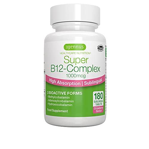 Super B12-Complex 1000mcg, Vitamina B12 sublinguale ad alto dosaggio, forme bioattive con metilcobalamina, gusto naturale di fragola, vegano, 180 compresse