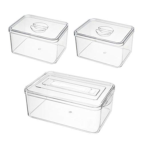 ZPFDM Food Storage Container, 3-Pack Pet Food Containers with Lid, Stackable Portable Freezer Storage Containers, Tray to Keep Fruits, Vegetables, Meat