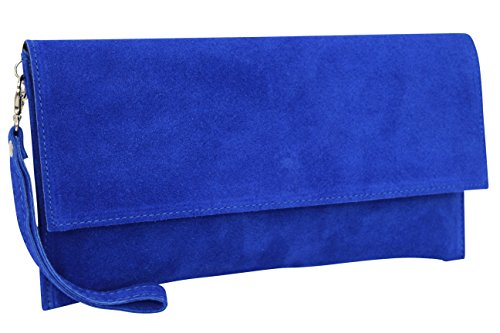 AMBRA Moda Damen Wildleder Clutch Handtasche veloursleder Tasche Handschlaufe WL811 (Royal Blau)