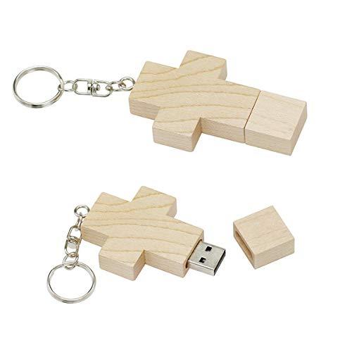 Memory Stick USB 2.0 da 128 GB Chiavetta USB in vero legno a forma di croce in legno di acero Unità flash USB per archiviazione dati su computer esterno - Civetman