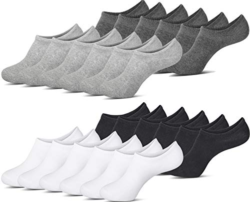 MC.TAM® Unsichtbare Sneaker Socken Herren Damen 12 Paar Antirutsch Baumwolle (Oeko-Tex® Standard 100), 35-38, 12x Mix