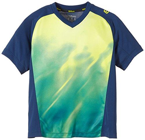 Wilson Jungen Tennisbekleidung B SP Smoke Print Crew, Pacific Teal/Solar Lime, S
