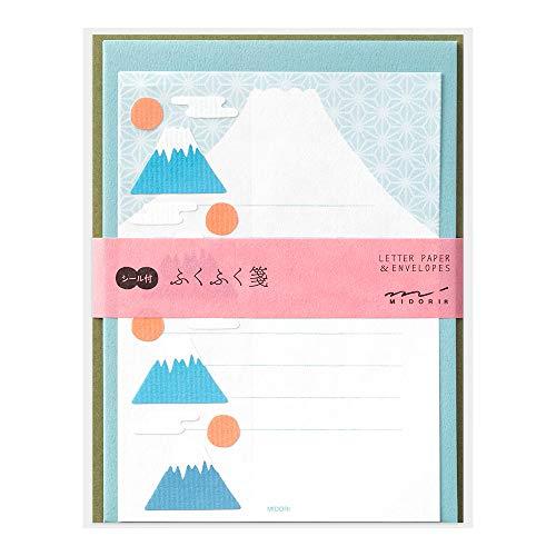 ミドリ レターセット 479 シール付 ふくふく 富士山柄 86479006