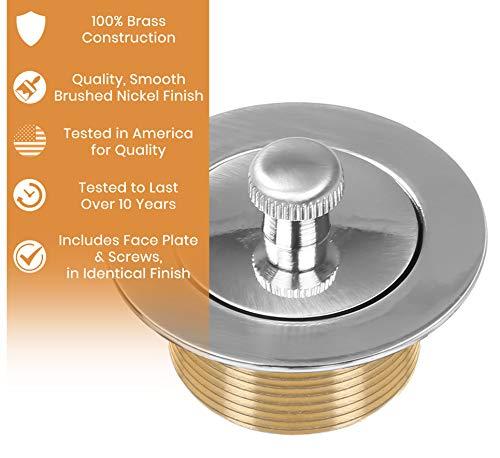 Vance Home Improvement Badewannen-Abfluss, 100{c837868f20a249f43228d2ca47e3d44ec0beef096b799e9bf1e5451b32f01c84} Messing, gebürstetes Nickel, handwerkliches Design, passend für alle Badewannen-Größen, geprüfte Qualität in Amerika
