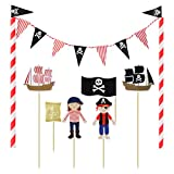 Amosfun Pirate Anniversaire gâteau Toppers Pirate Cake Topper Guirlande Bunting Wrapper pour Enfants Anniversaire Baby Shower Party Cake Fournitures