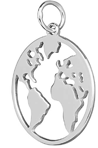Anhänger 16 mm 925 Silber Globus Weltkarte Kettenanhänger Unisex Schmuckbox
