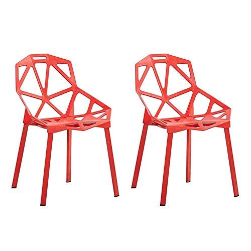JIEER-C Ocio sillas Comedor Silla Conjunto de 2 Moda Creativa Plástico Mesa Silla Apilable Restaurante Ocio Respaldo Silla Café Cocina Durable Fuerte