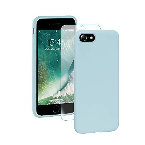 SmartDevil Funda Adecuada para iPhone SE 2020/8/7 +Protector de Pantalla, [Totalmente Protectora] Funda de Gel de Silicona líquida Funda,Microfibra Suave Cojín para iPhone SE 2020/8/7-Azul