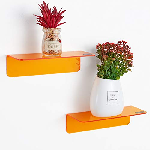 OAPRIRE Acrylic Floating Wall Shelves Set of 2 - Easily Expand and Personalize Wall Space - 9 Inch Small Shelf for Bedroom, Bathroom, Kitchen, Living Room, Office, Playroom with Cable Clips (Orange)