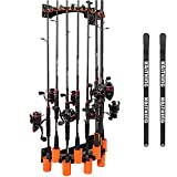 KastKing V10 Rod Rack with Line Spooling Station, Wall Mounted Fishing Rod/Combo Rack, Holds 10 Combos, Fishing Line Spooling Tool for Spinning and Casting Reels(2pcs Line Boss Included)