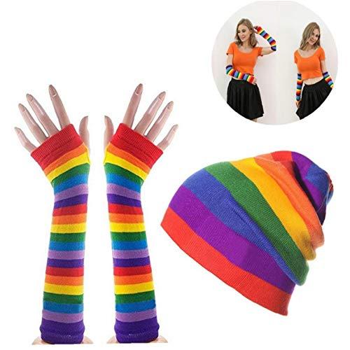 Bunter 1set Regenbogen-handschuh & Ski Beanie-Geschenk-Set Regenbogen-Streifen Lange Strickhandschuhe Outdoor-strickmütze Ferien-kostüm-Party-zusatz Für Mann Und Frau