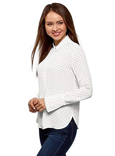 oodji Ultra Damen Lässige Bluse aus Fließendem Stoff, Weiß, DE 36 / EU 38 / S