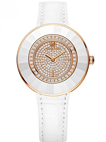 Swarovski Watch Octea Dressy White Rose Gold Tone Watch with Leather Strap, Swiss Made, Reference 5095383
