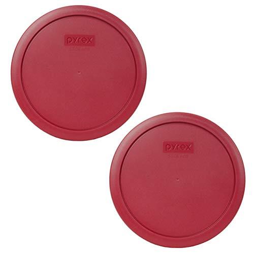 Pyrex 7402-PC - Tapas de plástico redondas para almacenamiento de alimentos, color rojo