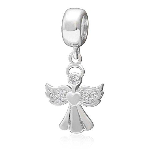 Ciondolo in argento Sterling 925 per san Valentino a forma di angelo, compatibile con bracciali Pandora
