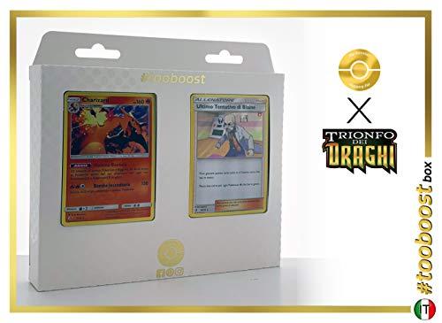 Charizard 3/70 Holo E Ultimo Tentativo di Blaine 58/70 Holo #tooboost X sol E & Luna 7.5 Trionfo dei Draghi - Box di 10 Carte Pokémon Italiene + 1 Goodie Pokémon