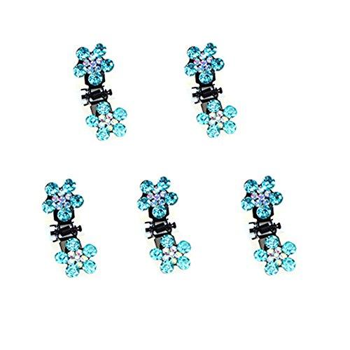 Belle bijoux filles fleurs clips cheveux, Mini 5 Count, Light Blue