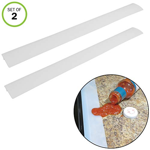 Evelots Stove Counter Gap Filler-Silicone-Spill-Crumb Guard-Washer-Clear-Set/2