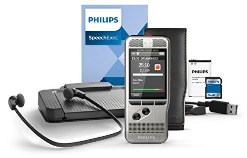 Philips DPM6700 Komplett-Set für Autor und Assistenz, enthält Diktiergerät Aufnahmegerät DPM6000, Fußschalter ACC2330, Stereo-Unterkinn-Kopfhörer LFH0334, Diktier- & Wiedergabe-Software SpeechExec 10