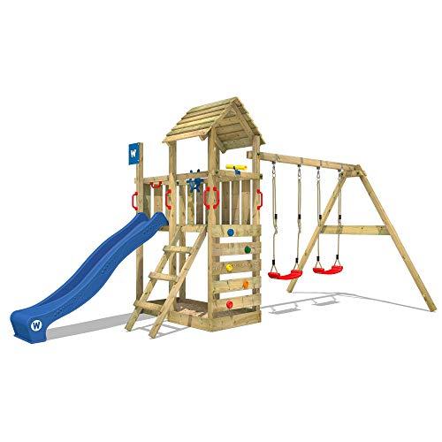 WICKEY Spielturm Klettergerüst Smart Rival mit Schaukel & blauer Rutsche, Kletterturm mit Sandkasten, Leiter & Spiel-Zubehör