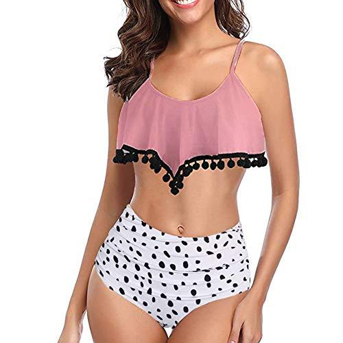Costume da Bagno 2 Pezzi Bikini Donna Swimwear Tankini Beachwear Donna Sexy Bodysuit Moda Halter Balza Increspata Swimsuit Elegante Modello e Fiori Stampati Vita Alta Bikini XL