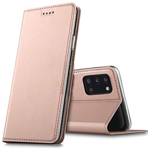 Verco Handyhülle für Samsung Galaxy A31, Premium Handy Flip Cover für Samsung A31 Hülle [integr. Magnet] Book Hülle PU Leder Tasche, Rosegold