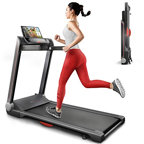 Sportstech FX300 Ultra Slim Treadmill - German Quality Brand - Event Videos & Multiplayer APP, huge running surface 51x122cm & no assembly, 16 km/h, USB, pulse belt compatible for Cardio Training