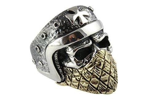 Totenkopf Biker Chopper Kreuz Ring 925 Silber Silberring (65 (20.7))