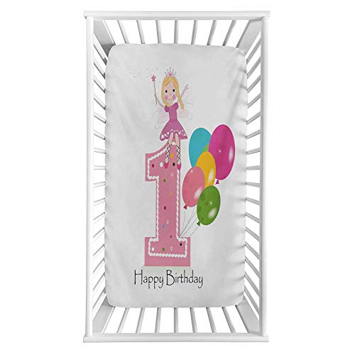 """Lyzelre 1st Birthday Fitted Crib Sheet,Princess Fairy Party Theme with Best Wishes Pink Wand and Balloons Microfiber Silky Soft Toddler Mattress Sheet Fitted,28""""x 52""""x 8'' for Boys Girls"""
