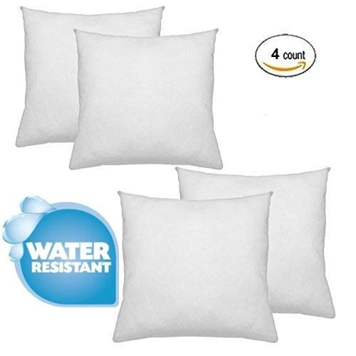 "IZO Home Goods Premium Outdoor Anti-Mold Water Resistant Hypoallergenic Stuffer Pillow Insert Sham Square Form Polyester, 18"" x 18"" (4 Pack) Rectangle, Standard/White"