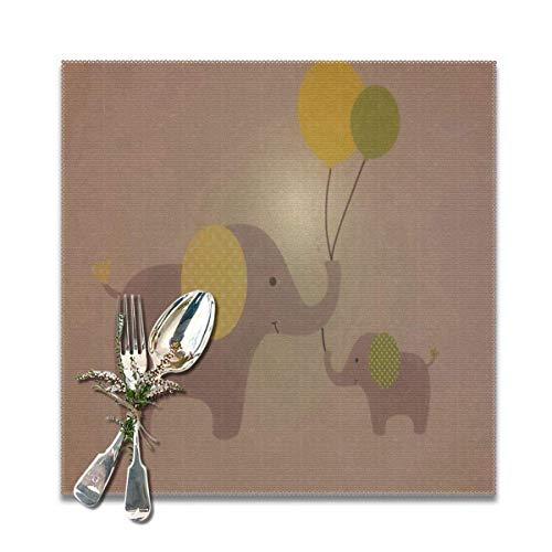 IUJL Manteles individuales para mesa de cocina Juego de 6 globos Bebé elefante Corazón rojo 12 pulgadas Cuadrados Manteles individuales resistentes al calor Paño lavable Mantel individual Decoración d