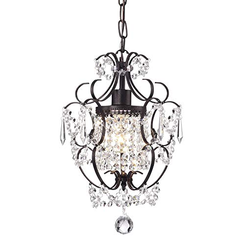 Edvivi Amorette 1-Light Antique Bronze Finish Mini Pendant Chandelier Wrought Iron Ceiling Fixture | Glam Lighting