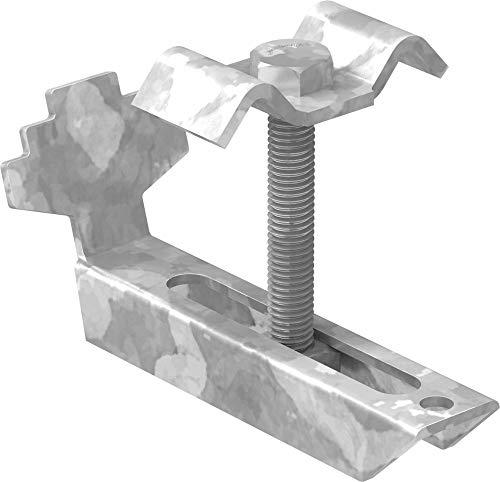 FeNau | Gitterrost-Klemme (Komplett-Satz) für Rosthöhe 80-90 mm und MW: (30 mm / 30 mm) - S235JR / ST37 – feuerverzinkt gegen Korrosion - Gitterrost-Sicherung/Gitterrost-Befestigung
