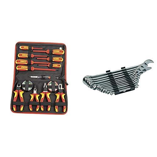 MannesmannM1121414 piezas Juego de destornillador VDE + alicates + M19652 Juego de 12 llaves combinadas 6 a 22 CV