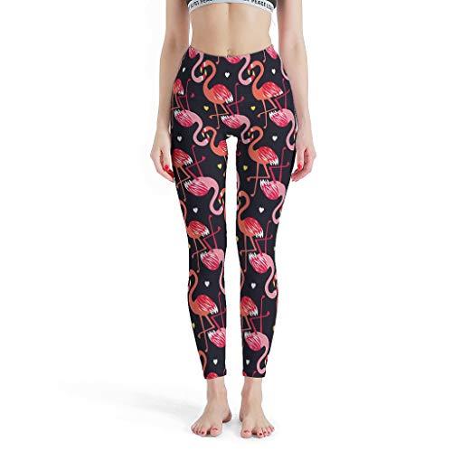 Ballbollbll Flamingo - Pantalones de yoga para mujer, elsticos, para deportes, deportes, ocio, diario, blanco, S
